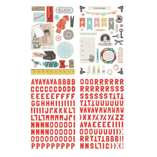 BasicGrey - Paper Cottage Collection - Adhesive Chipboard - Shapes and Alphabets