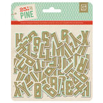 BasicGrey - 25th and Pine Collection - Christmas - Chipboard Stickers - Alphabet