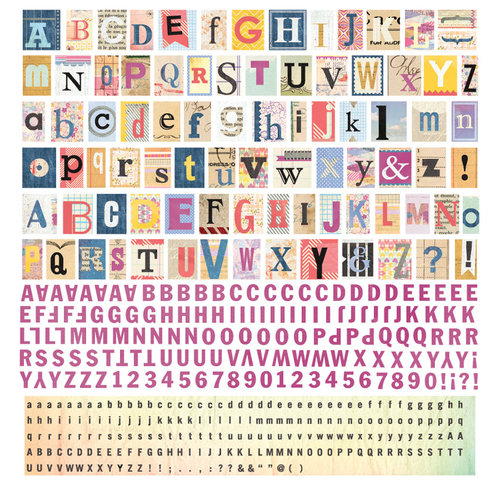 BasicGrey - Soleil Collection - 12 x 12 Alphabet Stickers