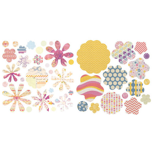 BasicGrey - Soleil Collection - Die Cut Cardstock and Canvas Pieces - Flowers