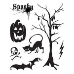 BasicGrey - Eerie Collection - Halloween - Clear Acrylic Stamps - Spooky Bitsy , BRAND NEW