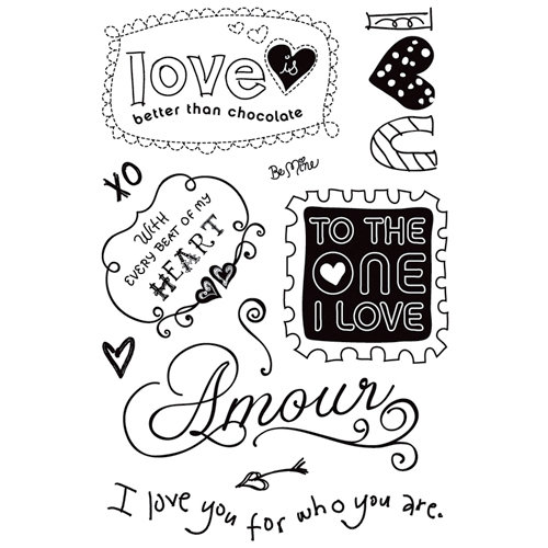 BasicGrey - Sugar Rush Collection - Clear Acrylic Stamps - Amour, CLEARANCE