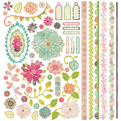 BasicGrey - Sweet Threads Collection - 12 x 12 Element Stickers - Shapes