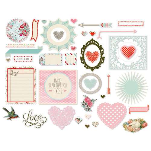 BasicGrey - True Love Collection - Die Cut Cardstock and Transparency Pieces