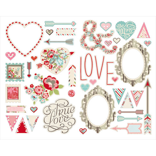 BasicGrey - True Love Collection - Adhesive Chipboard - Shapes