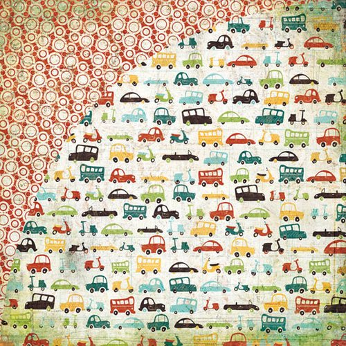 BasicGrey - Wander Collection - 12 x 12 Double Sided Paper - Vroom, CLEARANCE