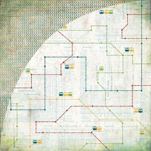 BasicGrey - Wander Collection - 12 x 12 Double Sided Paper - Lightrail, CLEARANCE