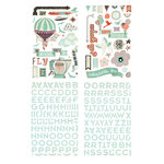 BasicGrey - Whats Up Collection - Adhesive Chipboard - Shapes and Alphabets
