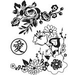 Hero Arts - BasicGrey - Konnichiwa Collection - Repositionable Rubber Stamps - Floral Blossoms