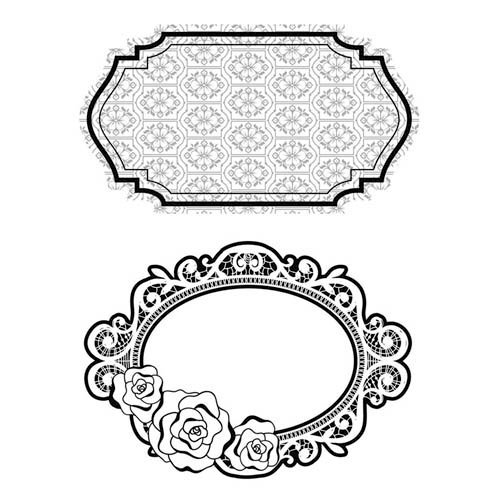 Hero Arts - BasicGrey - Plumeria Collection - Repositionable Rubber Stamps - Garden Frames