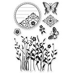 Hero Arts - BasicGrey - Indie Bloom Collection - Poly Clear - Clear Acrylic Stamps - Butterflies and Wildflowers