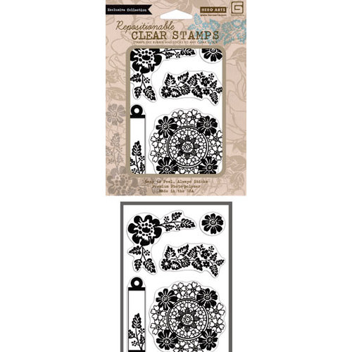 Hero Arts - BasicGrey - Little Black Dress  Collection - Poly Clear - Clear Acrylic Stamps - Flower Star Wreath