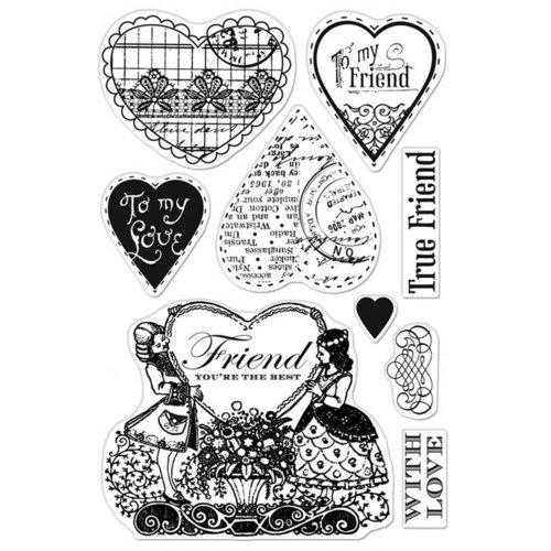 Hero Arts - BasicGrey - Kissing Booth Collection - Poly Clear - Clear Acrylic Stamps - Friend You're the Best