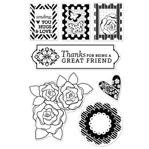 Hero Arts - BasicGrey - Plumeria Collection - Poly Clear - Clear Acrylic Stamps - Pattern Hearts and Flowers