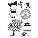 Hero Arts - BasicGrey - Konnichiwa Collection - Poly Clear - Clear Acrylic Stamps - Japanese Garden
