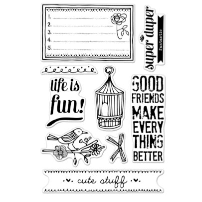 Hero Arts - BasicGrey - Paper Cottage Collection - Poly Clear - Clear Acrylic Stamps - Life is Fun