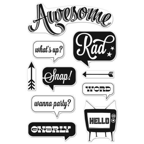 Hero Arts - BasicGrey - Hipster Collection - Poly Clear - Clear Acrylic Stamps - Awesome