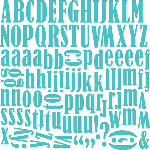 Bella Blvd - Super Stud Collection - 12 x 12 Alphabet Stickers - Carla Font - Mediterranean, CLEARANCE