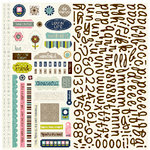 Bella Blvd - Estate Sale Collection - 12 x 12 Cardstock Stickers - Alphabet and Bits