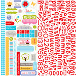 Bella Blvd - Hello Beautiful Collection - 12 x 12 Cardstock Stickers - Alphabet and Bits, CLEARANCE