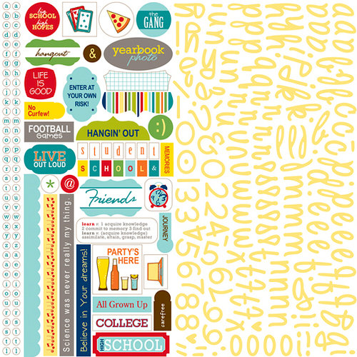 Bella Blvd - Midterm Collection - 12 x 12 Cardstock Stickers - Alphabet and Bits