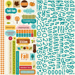Bella Blvd - One Fall Day Collection - 12 x 12 Cardstock Stickers - Alphabet and Bits, CLEARANCE