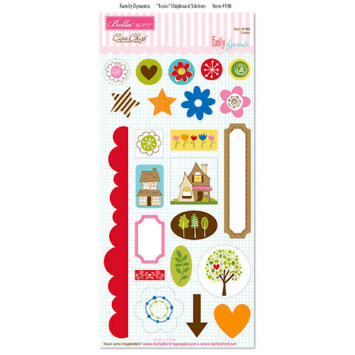 Bella Blvd - Family Dynamix Collection - Ciao Chip - Self Adhesive Chipboard - Icons