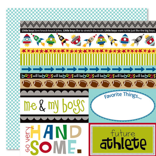 Bella Blvd - Mr. Boy Collection - 12 x 12 Double Sided Paper - Borders N' Blocks