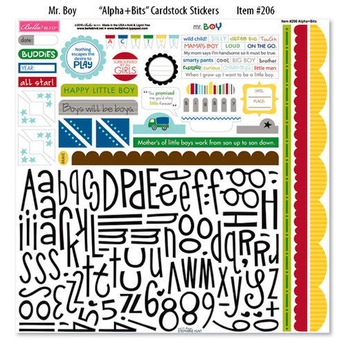 Bella Blvd - Mr. Boy Collection - 12 x 12 Cardstock Stickers - Alphabet and Bits