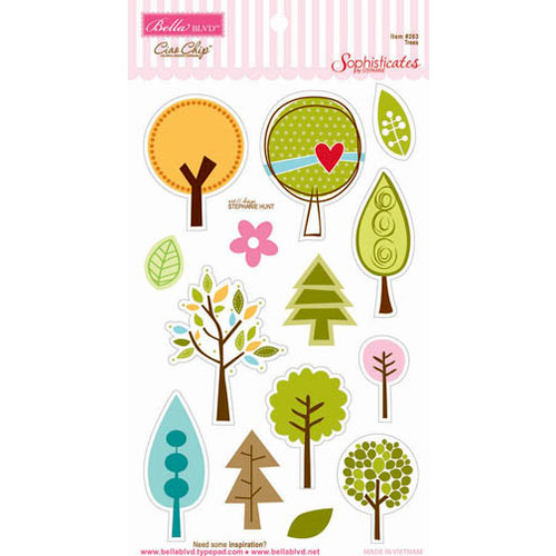 Bella Blvd - Sophisticates Collection - Ciao  Chip - Self Adhesive Chipboard - Trees
