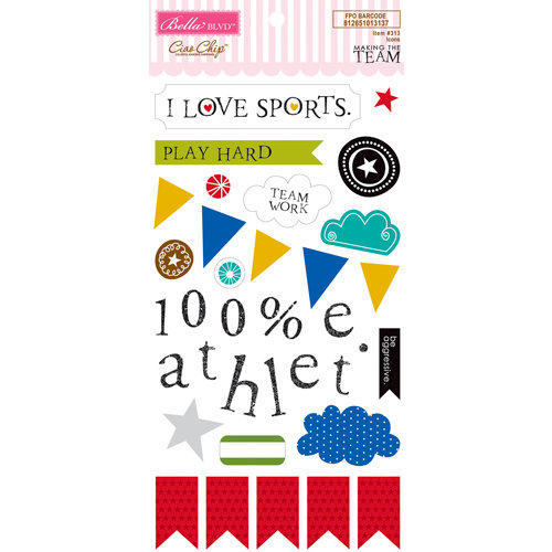 Bella Blvd - Making the Team Collection - Ciao Chip - Self Adhesive Chipboard - Icons