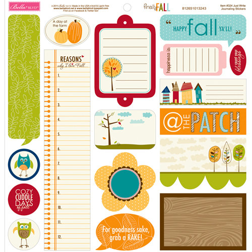 Bella Blvd - Finally Fall Collection - 12 x 12 Cardstock Stickers - Just Write