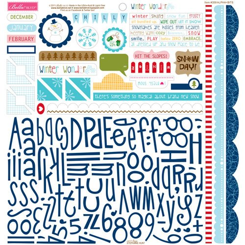 Bella Blvd - Winter Wonder Collection - 12 x 12 Cardstock Stickers - Alphabet and Bits