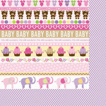 Bella Blvd - Baby Girl Collection - 12 x 12 Double Sided Paper - Borders