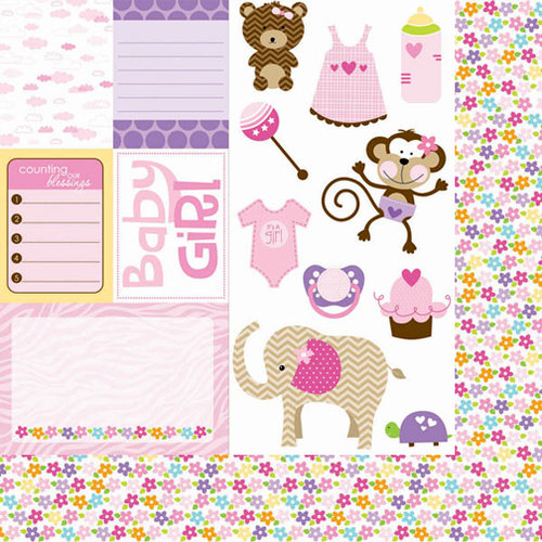 Bella Blvd - Baby Girl Collection - 12 x 12 Double Sided Paper - Cute Cuts