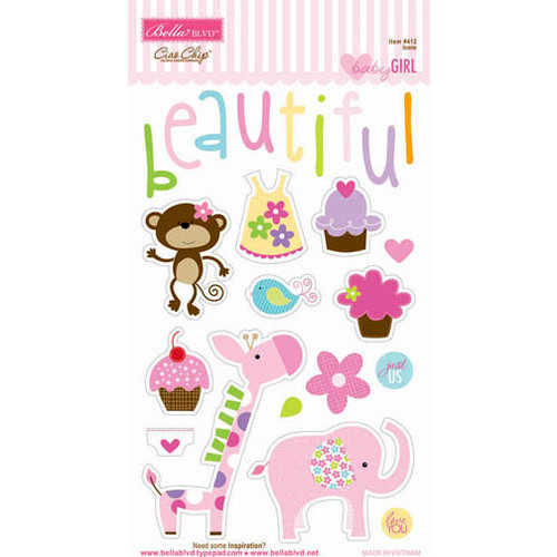 Bella Blvd - Baby Girl Collection - Ciao Chip - Self Adhesive Chipboard - Icons