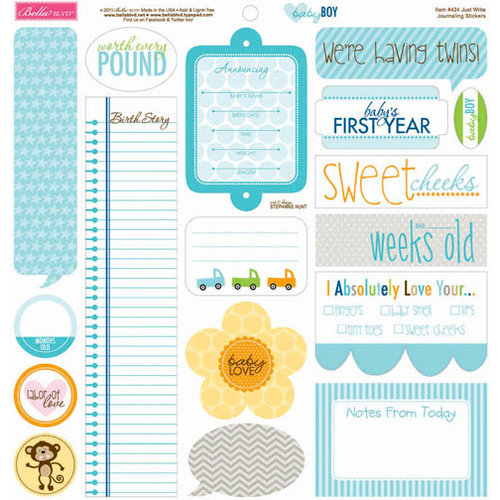 Bella Blvd - Baby Boy Collection - 12 x 12 Cardstock Stickers - Just Write