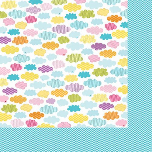 Bella Blvd - Sunshine and Happiness Collection - 12 x 12 Double Sided Paper - Happy Clouds
