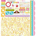Bella Blvd - Sunshine and Happiness Collection - 12 x 12 Cardstock Stickers - Alphabet and Bits