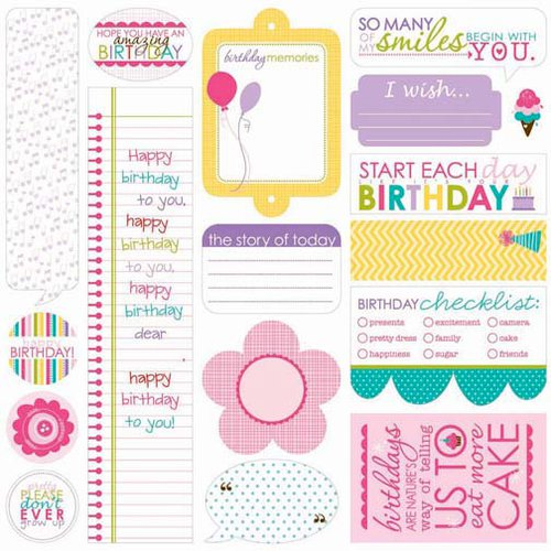 Bella Blvd - Birthday Girl Collection - 12 x 12 Cardstock Stickers - Just Write