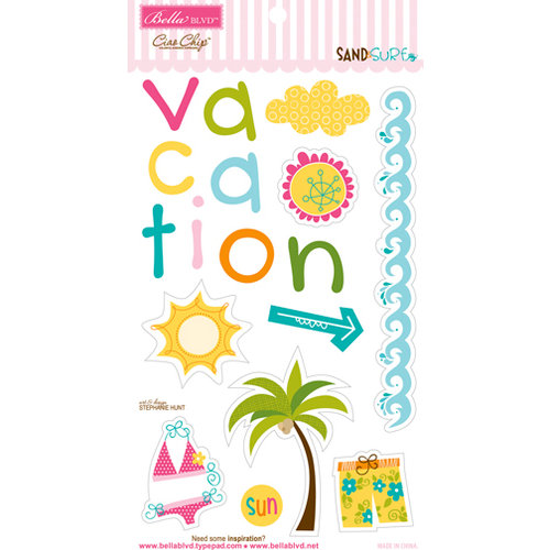 Bella Blvd - Sand and Surf Collection - Ciao Chip - Self Adhesive Chipboard - Icons