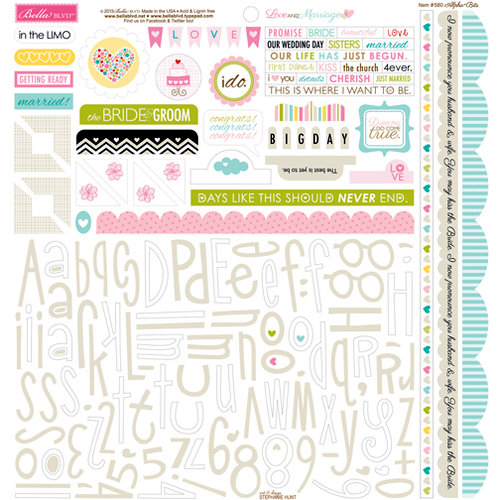 Bella Blvd - Love and Marriage Collection - 12 x 12 Cardstock Stickers - Alphabet and Bits