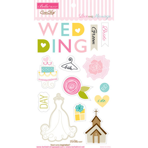 Bella Blvd - Love and Marriage Collection - Ciao Chip - Self Adhesive Chipboard - Icons