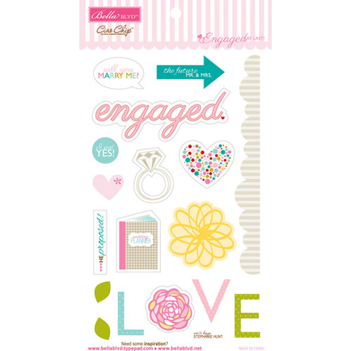 Bella Blvd - Engaged At Last Collection - Ciao Chip - Self Adhesive Chipboard - Icons - Engagement
