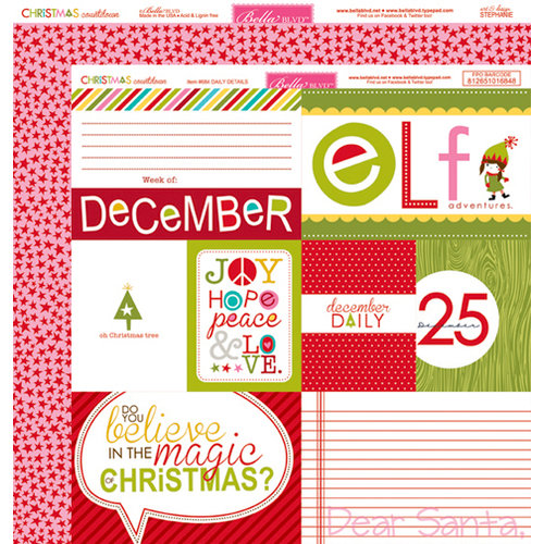 Bella Blvd - Christmas Countdown Collection - 12 x 12 Double Sided Paper - Daily Details
