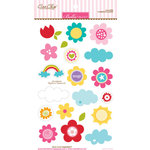 Bella Blvd - Color Chaos Collection - Ciao Chip - Self Adhesive Chipboard - Flowers and Clouds