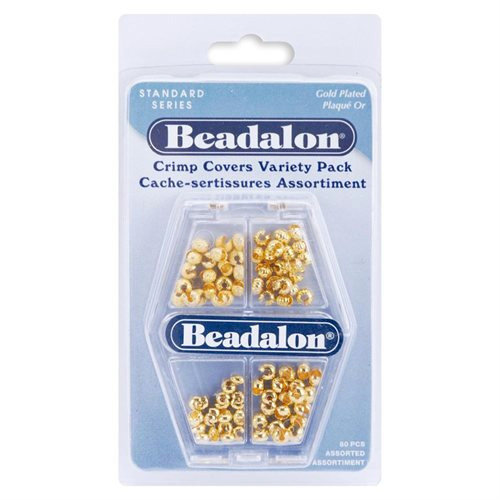 Beadalon - Jewelry - Crimp Covers Variety Pack - Gold Plated Assortment - 80 Pieces