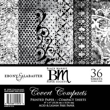 Black Market Paper Society - Covert Compacts - Ebony and Alabaster Collection - 6x6 Paper Pad