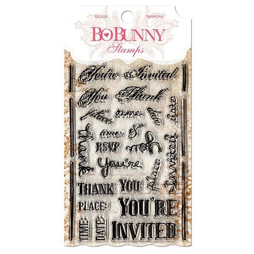 Bo Bunny - Clear Acrylic Stamps - You're Invited Stamp