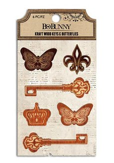 Bo Bunny - Kraft Collection - Stickers - Wood Keys and Butterflies